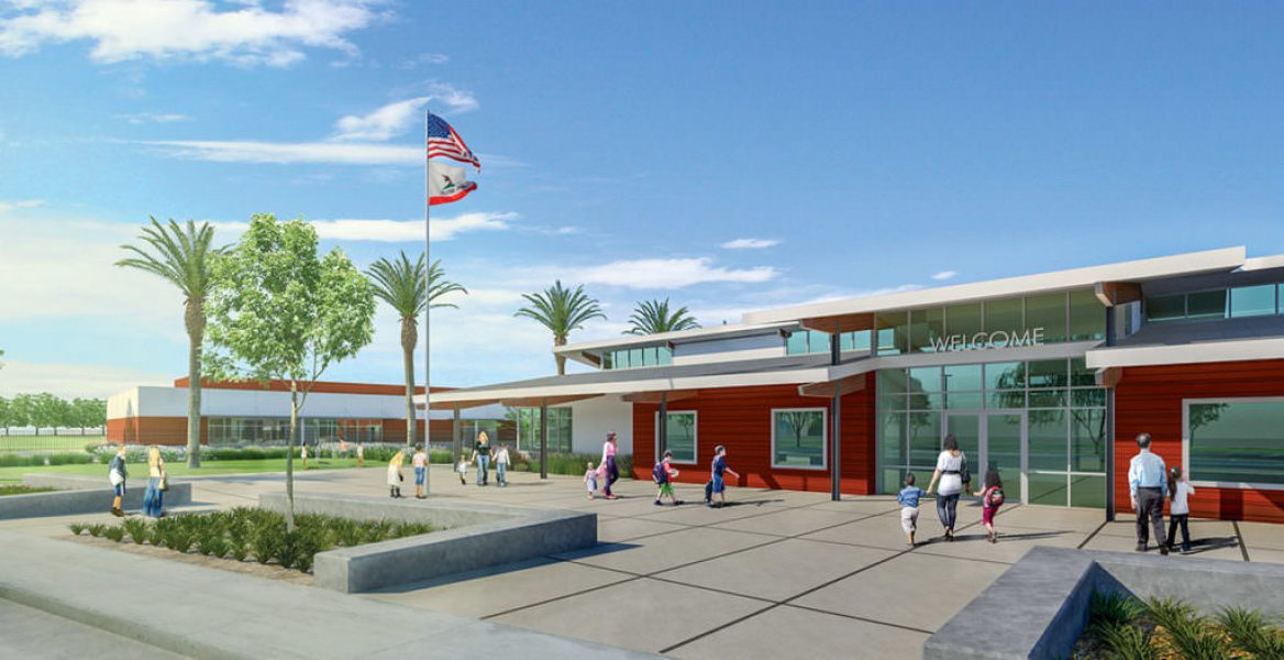 Rendering of the outside of Esencia School